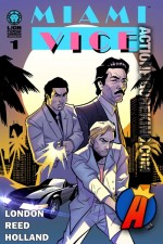 Crockett, Tubbs, Castillo along with Crockett's Ferrari 365 GTS/4 Daytona Spyder are depicted in this cover illustration from the new Miami Vice Digital Comic series from Lion Forge Comics.