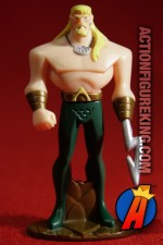 From the JJU animated series comes this die-cast Aquaman figure by Mattel.