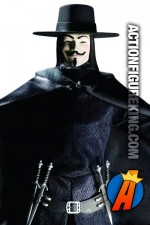 Ultra poseable 13 inch DC Direct V is for Vendetta action figure with removable cloth outfit.