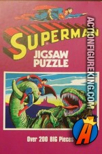 Superman fights a large green dinosaur-like creature in this 200-piece jigsaw-puzzle from 1973.