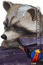 A detailed view of this Guardians of The Galaxy Big Blastin' Rocket Raccoon action figure.