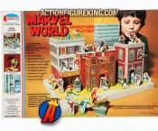 A packaged sample of this 1975 Amsco Marvel World Adventure Playset.
