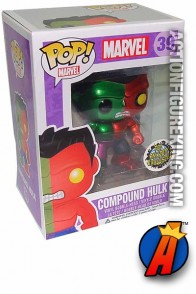 A packaged sample of this Funko Pop! Marvel Compound Hulk metallic variant vinyl bobblehead figure.