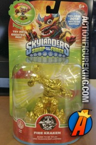 Skylanders Swap-Force exclsuive employee variant Gold Fire Kraken gamepiece from Activision.