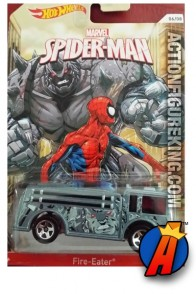 Spider-Man Rhino Fire Eater die-cast vehicle from Hot Wheels circa 2014.