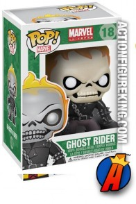 A packaged sample of this Funko Pop! Marvel Ghost Rider vinyl figure number eighteen.