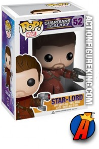 A packaged sample of this Funko Pop! Marvel Star-Lord vinyl bobblehead figure.