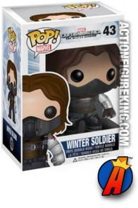 A packaged sample of this Funko Pop! Marvel Winter Soldier vinyl bobblehead figure.