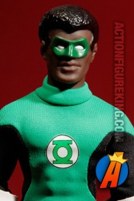 Detailed view of this Green Lantern/John Stewart Mego-type figure.