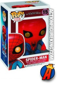 A packaged sample of this Funko Pop! Marvel Amazing Spider-Man vinyl bobblehead figure.