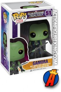 A packaged sample of this Funko Pop! Marvel Gamora vinyl bobblehead figure.