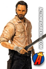 A detaield view of this Series 6 Walking Dead Rick Grimes action figure from McFarlane Toys.