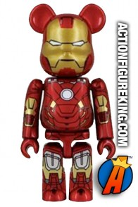 Minature Medicom 2.5 inch Bearbrick Iron Man 3 MK42 action figure with 7 points of articulation.