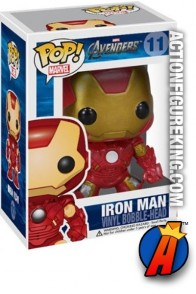 A packaged sampel of this Funko Pop! Marvel Avengers Iron Man vinyl bobblehead figure.