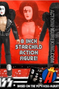 A packaged sample of this Series 2 fully articulated 8-inch KISS The Starchild action figure with removable cloth uniform.