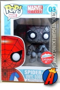 Funko Pop! Marvel! Exclusive black and white variant Spider-Man bobblehead figure.