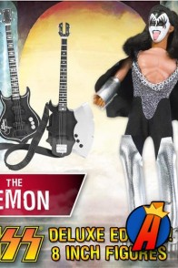 A packaged sample of this fully articulated 8-inch KISS The Demon Deluxe variant action figure with removable cloth uniform.
