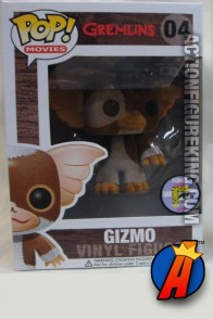 A packaged sample of this Funko Pop! Movies Gremlins variant flocked Gizmo figure.