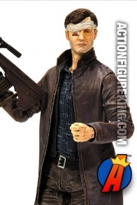 A detaield view of this Series 6 Walking Dead Governor action figure from McFarlane Toys.