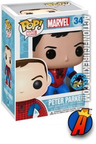 A packaged sample of this Funko Pop! Marvel Peter Parker vinyl bobblehead figure.