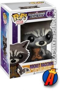 A packaged sample of this Funko Pop! Marvel Rocket Raccoon vinyl figure number 38.