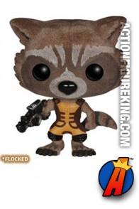 Funko Pop! Marvel 2014 San Diego Comicon Rocket Raccoon variant flocked figure.