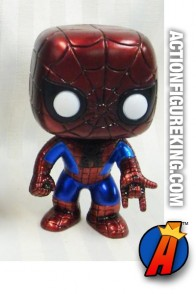 Funko Pop! Marvel 2011 San Diego Comicon Metallic variant Spider-Man figure.
