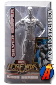Fully articulated 12-inch Marvel Legends Silver Surfer action figure from Hasbro's Icons series.