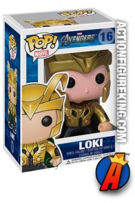 A packaged sample of this Funko Pop! Marvel Exclusive Avengers Loki vinyl figure.