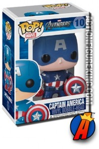 A packaged sample of this Funko Pop! Marvel Avengers Captain America vinyl fgure.