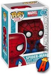 A packaged sample of this Funko Pop! Marvel Spider-Man vinyl figure number three.