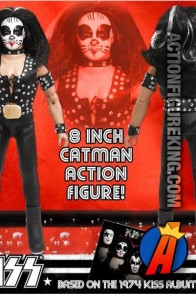 A packaged sample of this Series 2 fully articulated 8-inch KISS The Catman action figure with removable cloth uniform.