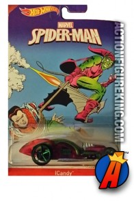 Spider-Man Icandy die-cast vehicle featuring the Green Goblin from Hot Wheels.