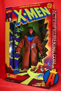 A packaged sample of the ragin' cajun Gambit from the X-Men Deluxe line of action figures by Toybiz.