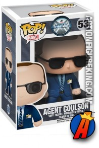 A packaged sample of this Funko Pop! Marvel Agent Coulson vinyl figure.