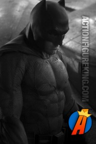 First look at Ben Affleck wearing his new Batman uniform in the upcoming Zack Snyder Batman vs. Superman film.