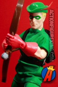 Fully articulated Silver Age Green Arrow action figure with authentic fabric outfit.