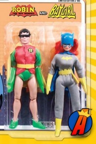 Retro style Robin and Batgirl two-pack with removable masks.