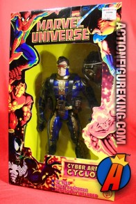 Marvel-Universe-10-inch Cyber Armor Cyclops is a mash-up of a Cyclops head on an Iron Man body with a Weapon X harness and helmet.