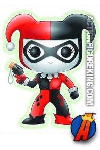 Funko 6-inch Pop Heroes Glow-in-the-Dark Harley Quinn figure.