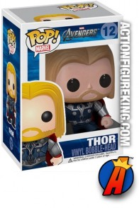 A packaged sample of this Funko Pop! Marvel Avengers Thor bobblehead figure.