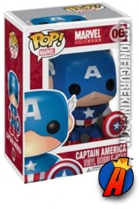 A packaged sample of this Funko Pop! Marvel Captain America vinyl figure.
