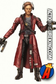 The Guardians of the Galaxy Marvel Legends Starlord is seen here with the unmasked interchangeable head.