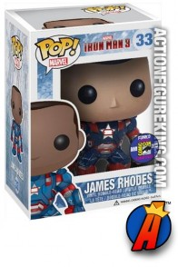 A packaged sample of this Funko Pop! Marvel James Rhodes vinyl bobblehead figure.