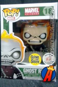 A packaged sample of this Funko Pop! Marvel Glow-in-the-Dark Ghost Rider vinyl figure.