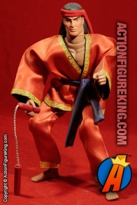 Fully articulated custom 12-inch Master of Kung Fu action figure with authentic fabric uniform.