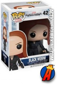 A packaged sample of this Funko Pop! Marvel Black Widow vinyl bobblehead figure.