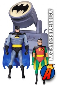 DC Collectibles BATMAN the Animated Series BAT SIGNAL with Batman and Robin figures.