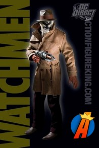 From the pages of the Watchmen comes this 13 inch DC Direct Rorschach action figure with removable cloth uniform.
