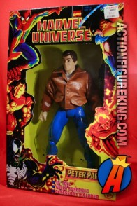 Articulated Marvel Universe 10-inch Peter Parker action figure with removable leatherlike jacket.